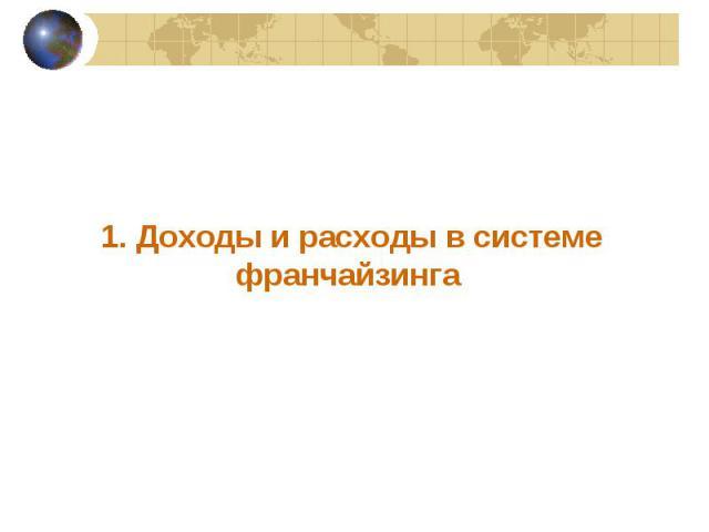 1. Доходы и расходы в системе франчайзинга