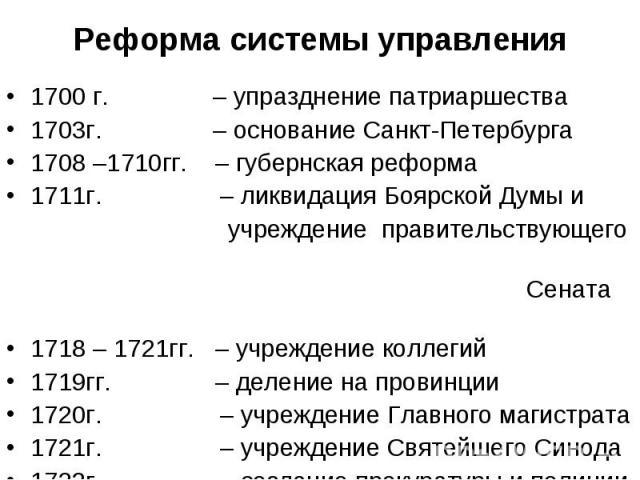 1700 г. – упразднение патриаршества 1700 г. – упразднение патриаршества 1703г. – основание Санкт-Петербурга 1708 –1710гг. – губернская реформа 1711г. – ликвидация Боярской Думы и учреждение правительствующего Сената 1718 – 1721гг. – учреждение колле…
