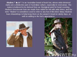 Akubra/əˈkuːbrə/is anAustralianbrand ofbush hat, w