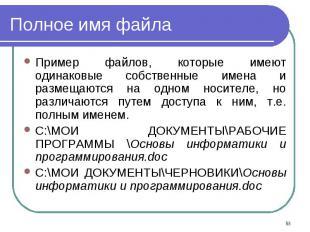 Пример файлов, которые имеют одинаковые собственные имена и размещаются на одном