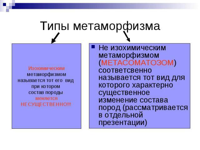 Типы метаморфизма Не изохимическим метаморфизмом (МЕТАСОМАТОЗОМ) соответсвенно называется тот вид для которого характерно существенное изменение состава пород (рассматривается в отдельной презентации)