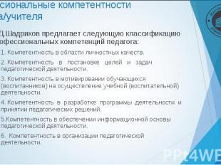 В.Д.Шадриков предлагает следующую классификацию профессиональных компетенций пед