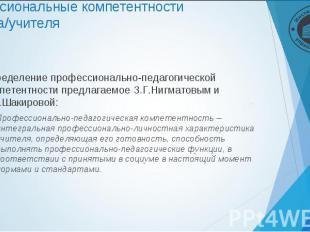 Определение профессионально-педагогической компетентности предлагаемое З.Г.Нигма