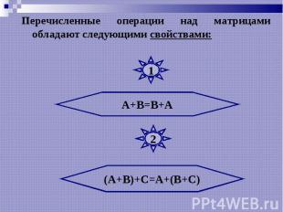 Перечисленные операции над матрицами обладают следующими свойствами: Перечисленн