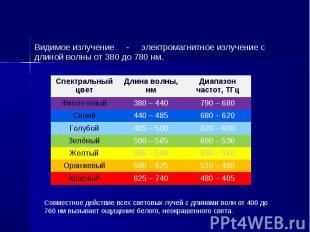 Видимое излучение - электромагнитное излучение с длиной волны от 380 до 780 нм.