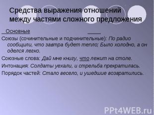 Основные Основные Союзы (сочинительные и подчинительные): По радио сообщили, что