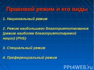 1. Национальный режим 1. Национальный режим 2. Режим наибольшего благоприятствов