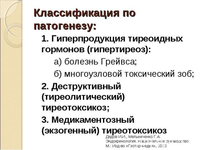 1. Гиперпродукция тиреоидных гормонов (гипертиреоз): 1. Гиперпродукция тиреоидных гормонов (гипертиреоз): а) болезнь Грейвса; б) многоузловой токсический зоб; 2. Деструктивный (тиреолитический) тиреотоксикоз; 3. Медикаментозный (экзогенный) тиреотоксикоз