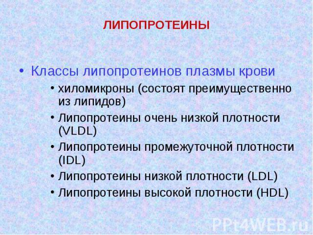 Классы липопротеинов плазмы крови хиломикроны (состоят преимущественно из липидов) Липопротеины очень низкой плотности (VLDL) Липопротеины промежуточной плотности (IDL) Липопротеины низкой плотности (LDL) Липопротеины высокой плотности (HDL)