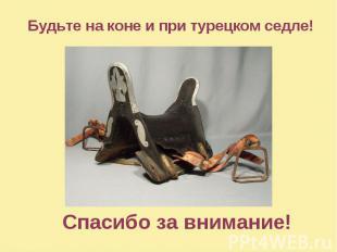 Спасибо за внимание! Будьте на коне и при турецком седле!