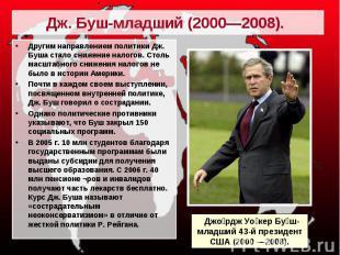 Другим направлением политики Дж. Буша стало снижение налогов. Столь масштабного