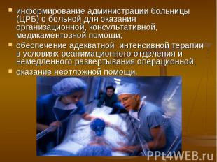 информирование администрации больницы (ЦРБ) о больной для оказания организационн