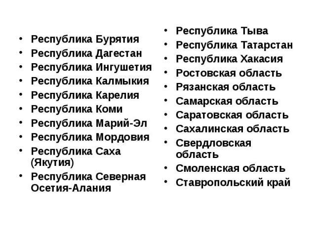 Республика Бурятия Республика Дагестан Республика Ингушетия Республика Калмыкия Республика Карелия Республика Коми Республика Марий-Эл Республика Мордовия Республика Саха (Якутия) Республика Северная Осетия-Алания