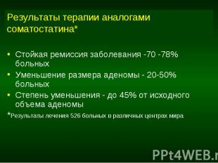 Результаты терапии аналогами соматостатина* Стойкая ремиссия заболевания -70 -78