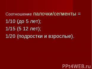 Соотношение палочки/сегменты = Соотношение палочки/сегменты = 1/10 (до 5 лет); 1