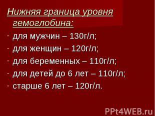 Нижняя граница уровня гемоглобина: Нижняя граница уровня гемоглобина: для мужчин