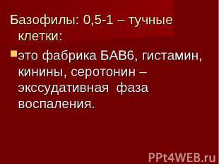 Базофилы: 0,5-1 – тучные клетки: Базофилы: 0,5-1 – тучные клетки: это фабрика БА