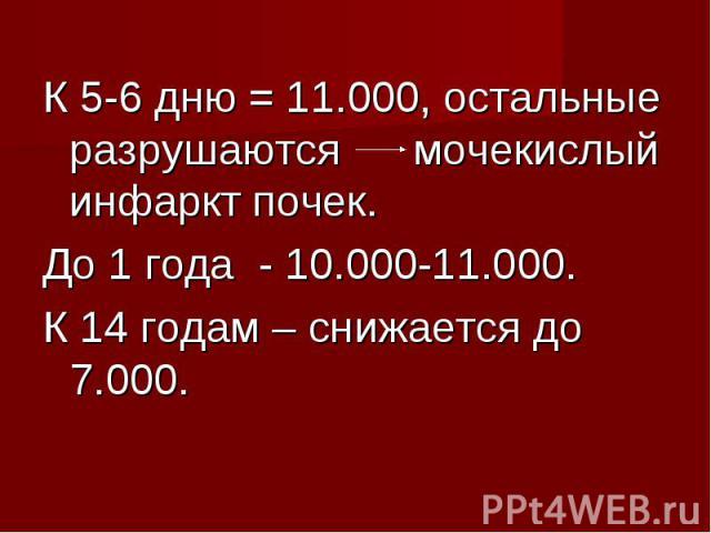 К 5-6 дню = 11.000, остальные разрушаются мочекислый инфаркт почек. К 5-6 дню = 11.000, остальные разрушаются мочекислый инфаркт почек. До 1 года - 10.000-11.000. К 14 годам – снижается до 7.000.