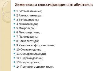 1 Бета-лактамные; 1 Бета-лактамные; 2 Аминогликозиды; 3 Тетрациклины; 4 Линкозам