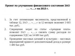 Проект по улучшению финансового состояния ЗАО …. «….» на 2015 г. За счет оптимиз