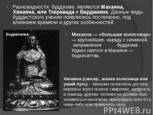 Разновидности буддизма являются Махаяна, Хинаяна, или Тхеравада и Ва