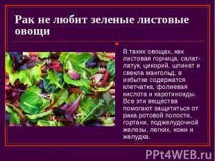 Рак не любит зеленые листовые овощи В таких овощах, как листовая горчица, салат-