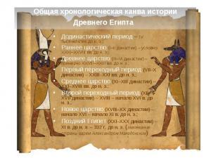 Общая хронологическая канва истории Древнего Египта Додинастический период – IV