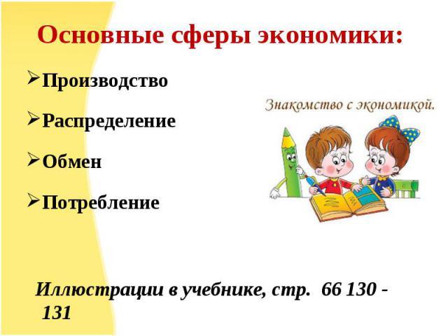 Производство Производство Распределение Обмен Потребление Иллюстрации в учебнике, стр. 66 130 - 131