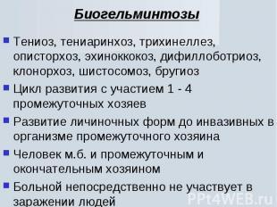 Тениоз, тениаринхоз, трихинеллез, описторхоз, эхиноккокоз, дифиллоботриоз, клоно