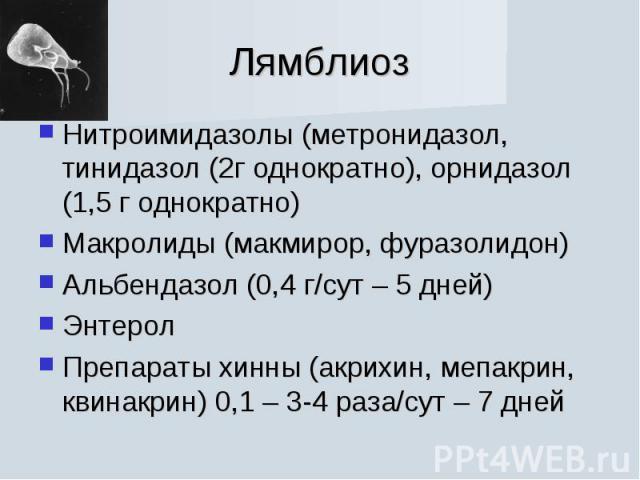 Нитроимидазолы (метронидазол, тинидазол (2г однократно), орнидазол (1,5 г однократно) Нитроимидазолы (метронидазол, тинидазол (2г однократно), орнидазол (1,5 г однократно) Макролиды (макмирор, фуразолидон) Альбендазол (0,4 г/сут – 5 дней) Энтерол Пр…