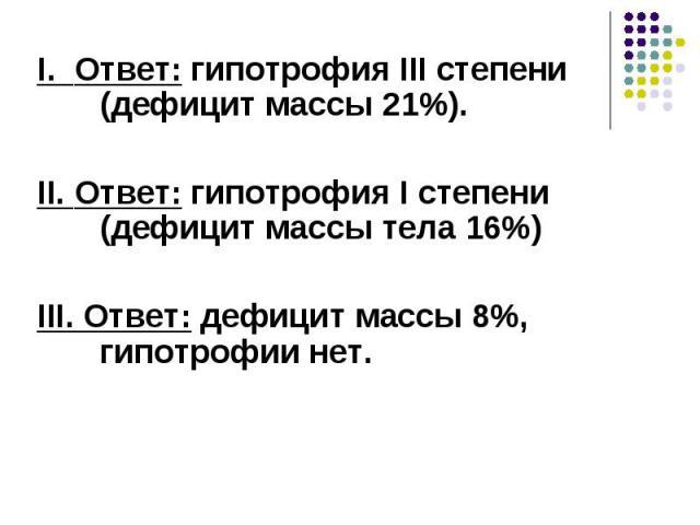 I. Ответ: гипотрофия III степени (дефицит массы 21%). I. Ответ: гипотрофия III степени (дефицит массы 21%). II. Ответ: гипотрофия I степени (дефицит массы тела 16%) III. Ответ: дефицит массы 8%, гипотрофии нет.