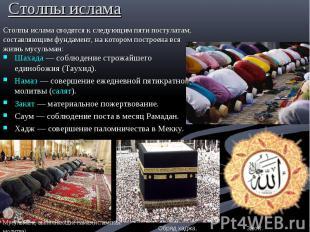 Столпы ислама Шахада— соблюдение строжайшего единобожия (Таухид). Намаз&nb