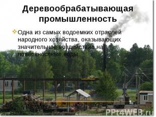 Деревообрабатывающая промышленность Одна из самых водоемких отраслей народного х