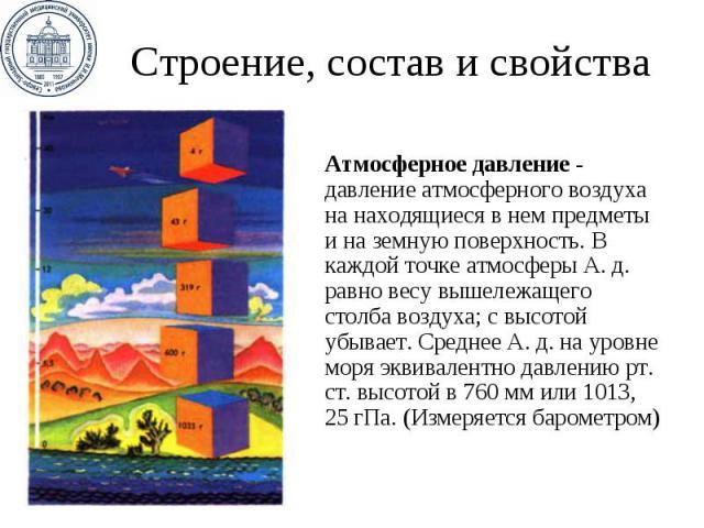 Строение, состав и свойства Атмосферное давление - давление атмосферного воздуха на находящиеся в нем предметы и на земную поверхность. В каждой точке атмосферы А.д. равно весу вышележащего столба воздуха; с высотой убывает. Среднее А.д.…