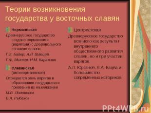 Теории возникновения государства у восточных славян Норманнская Древнерусское го