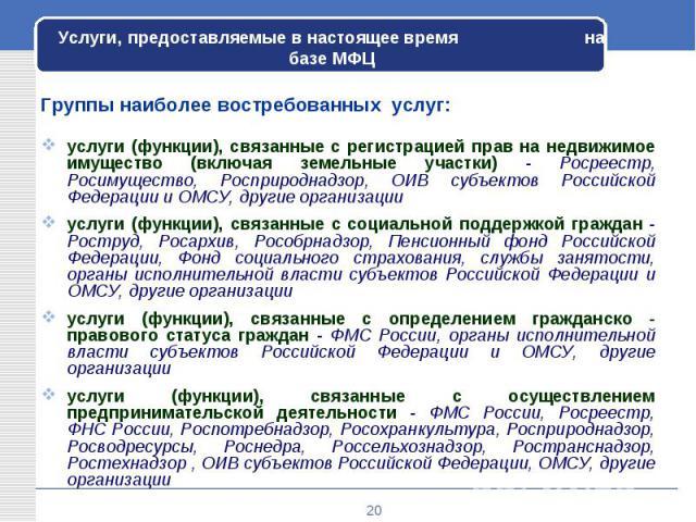 Группы наиболее востребованных услуг: Группы наиболее востребованных услуг: услуги (функции), связанные с регистрацией прав на недвижимое имущество (включая земельные участки) - Росреестр, Росимущество, Росприроднадзор, ОИВ субъектов Российской Феде…