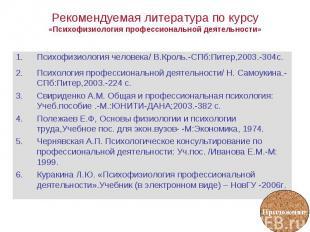Психофизиология человека/ В.Кроль.-СПб:Питер,2003.-304с. Психофизиология человек