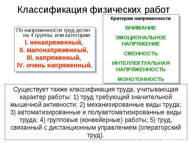 По напряженности труд делят на 4 группы, или категории: По напряженности труд делят на 4 группы, или категории: I. ненапряженный, II. малонапряженный, III. напряженный, IV. очень напряженный.