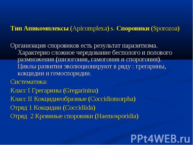 Тип Апикомплексы (Apicomplexa) s. Споровики (Sporozoa) Тип Апикомплексы (Apicomplexa) s. Споровики (Sporozoa) Организация споровиков есть результат паразитизма. Характерно сложное чередование бесполого и полового размножения (шизогония, гамогония и …