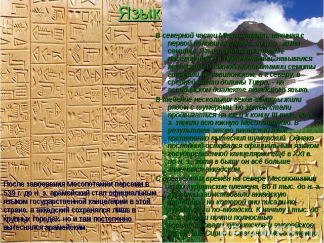 Язык В северной части Месопотамии, начиная с первой половины III тыс. до н. э., жили семиты. Язык семитских племён, поселившихся в Месопотамии, назывался аккадским. В южной Месопотамии семиты говорили на вавилонском, а к северу, в средней части доли…