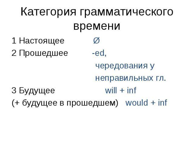 1 Настоящее Ø 1 Настоящее Ø 2 Прошедшее -ed, чередования у неправильных гл. 3 Будущее will + inf (+ будущее в прошедшем) would + inf