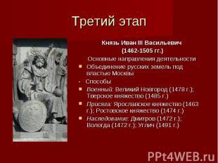 Третий этап Князь Иван III Васильевич (1462-1505 гг.) Основные направления деяте