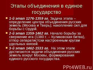 Этапы объединения в единое государство 1-й этап 1276-1359 гг. Задача этапа – опр