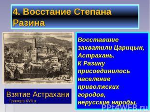 Восставшие Восставшие захватили Царицын, Астрахань. К Разину присоединилось насе