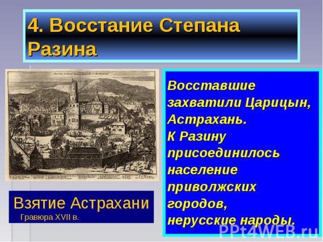 Восставшие Восставшие захватили Царицын, Астрахань. К Разину присоединилось население приволжских городов, нерусские народы.