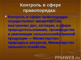 Контроль в сфере правопорядка осуществляют министерства внутренних дел, юстиции,