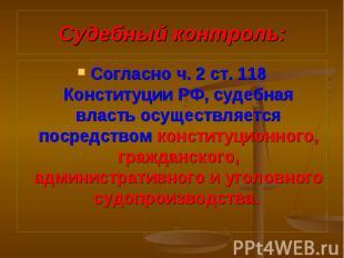 Согласно ч. 2 ст. 118 Конституции РФ, судебная власть осуществляется посредством