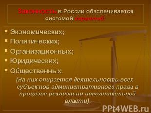 Экономических; Экономических; Политических; Организационных; Юридических; Общест