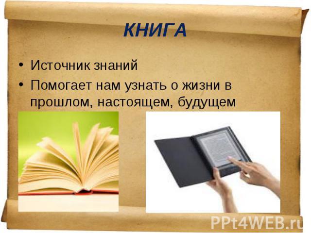 Источник знаний Источник знаний Помогает нам узнать о жизни в прошлом, настоящем, будущем