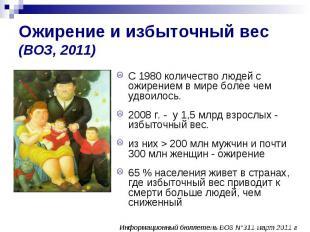 Ожирение и избыточный вес (ВОЗ, 2011) С 1980 количество людей с ожирением в мире